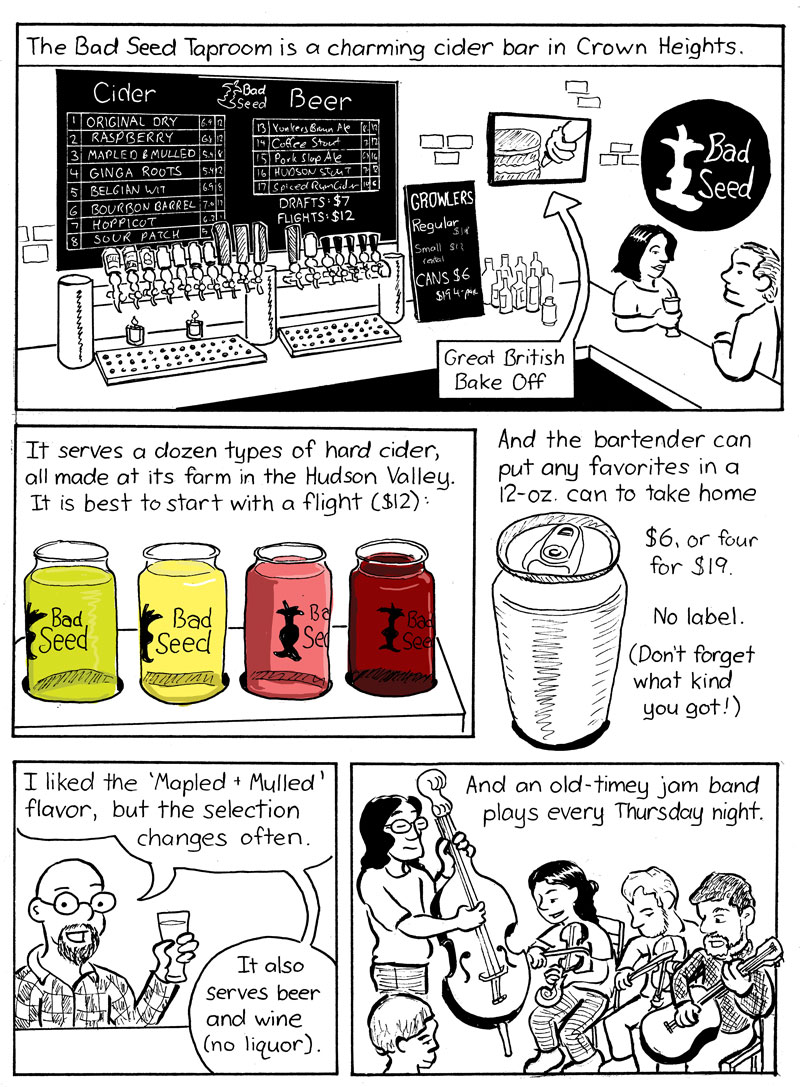 Bar scrawl a cartoon guide to the drinking establishments of brooklyn bad seed brooklyn taproom 585 franklin ave between pacific street and atlantic avenue in crown heights 718 9750690 badseedhardcider malvernweather Gallery